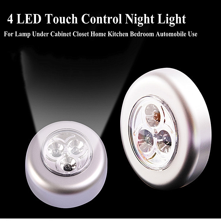 4 LED Touch Control Night Light Self-adhesive Cordless Stick Round Lamp Under Cabinet Closet Home Kitchen Bedroom Automobile Use