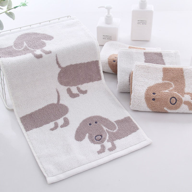 25*50CM Baby Towel Home Daily Cartoon Cute Embroidered Dog Baby Towels Scarf Bath Stuff Cotton Baby Wash Towel