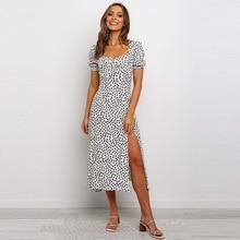 Print-Dress Puff-Sleeve Women Casual Summer Mid-Calf Short Chiffon Square Collar New