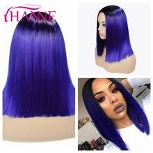 HANNE Ombre mavi/kahverengi/sarışın orta Bob peruk kadınlar için Afro orta kısmı düz peruk doğal sentetik saç peruk