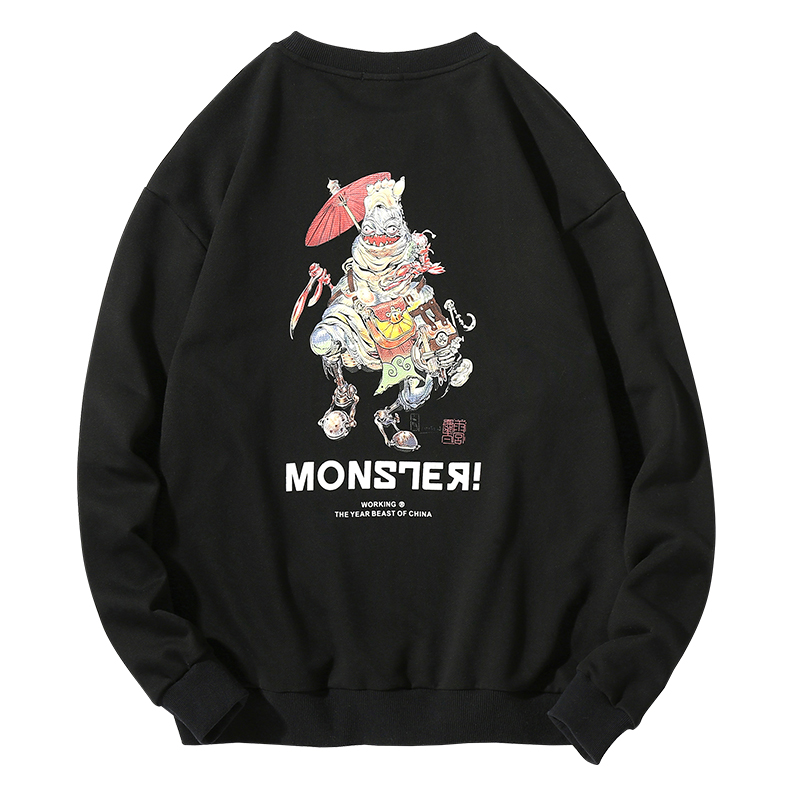 Yasword Autumn Spring Monster Cartoon Design Men Sweatshirt Casual Round Neck Casual Sportswear Clothes Pullover Hoodies Fashion in Hoodies amp Sweatshirts from Men 39 s Clothing
