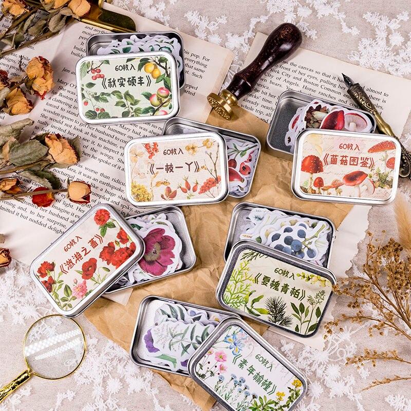 60sheets Plant Series Iron Boxed Sticker Bullet Journal Sticker Scrapbook DIY Cute Sticker Kawaii School Supplies