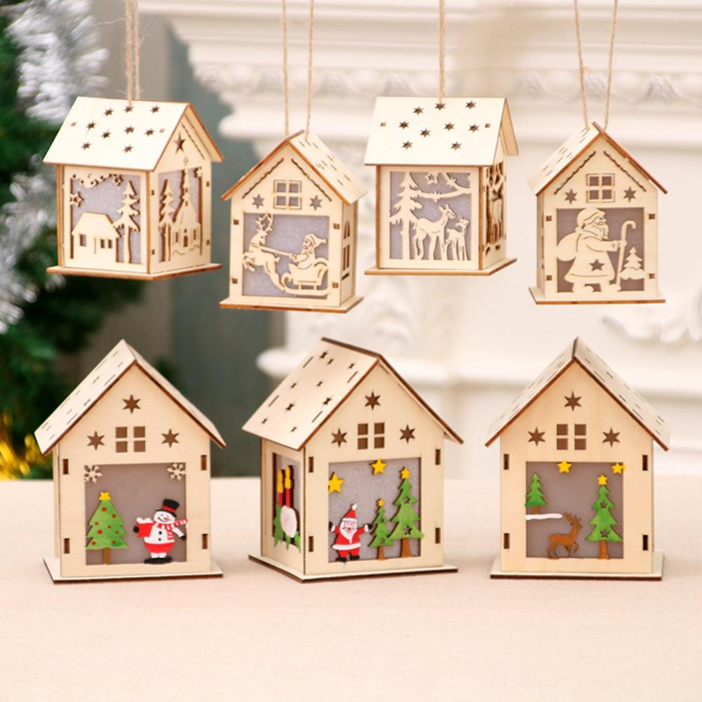 Image 4 - Ornaments Christmas Wooden House Merry Christmas Decor for Home Navidad 2019 Cristmas Decor Christmas Pendant New Year 2020-in Pendant & Drop Ornaments from Home & Garden