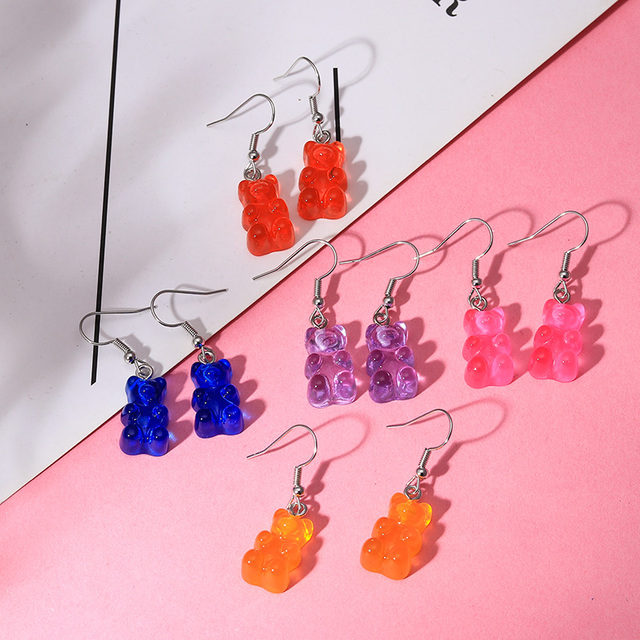 1 Pair Creative Cute Mini Gummy Bear Earrings Minimalism Cartoon Design Female Ear Hooks Danglers Jewelry Gift 5