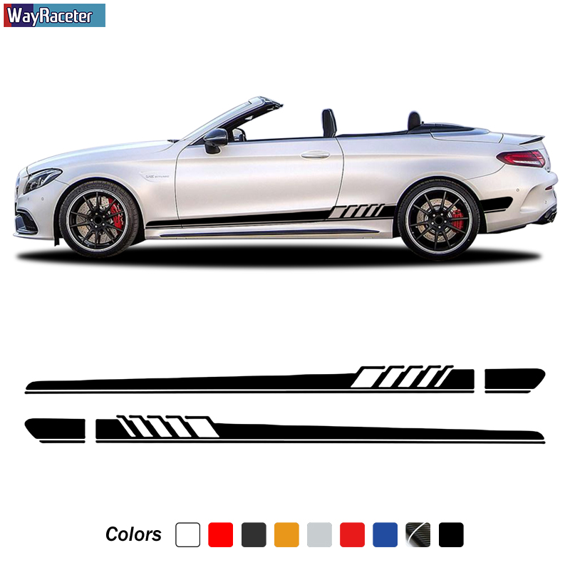 Edition 1 Side Stripes Skirt Stickers Decal For Mercedes Benz C Class <font><b>W205</b></font> C63 <font><b>AMG</b></font> C43 A205 C205 S205 <font><b>C200</b></font> C300 C350 Accessories image