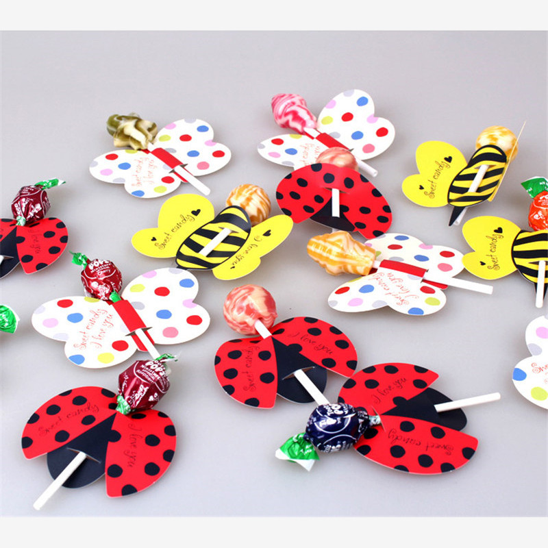 50Pcs/lot Birthday Candy Lollipop Decor Cute Bees Ladybug Butterfly Candy Lollipop Decoration Card For Kid's Party DIY Supplies