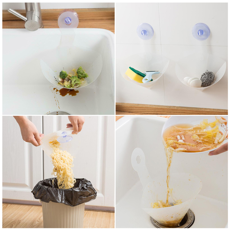 Kitchen Basin Filter Self-standing Drain Sink Bag Foldable Sink Filter Leftovers Soup Filter Anti-blocking Garbage Leakage Net