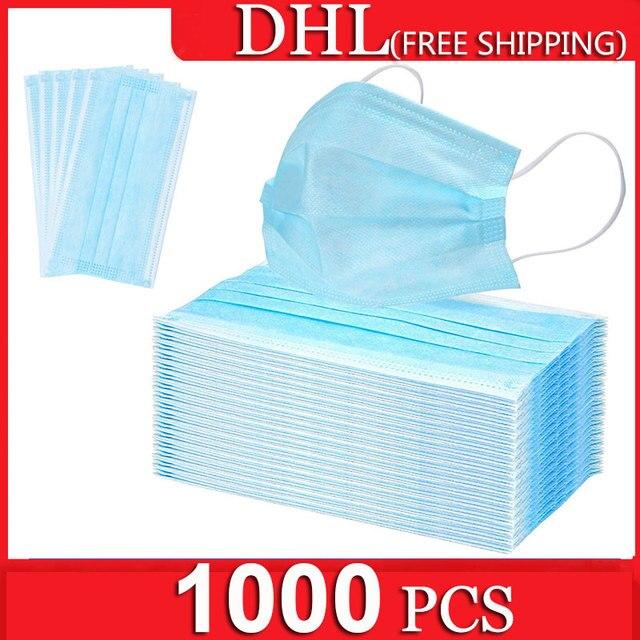 1000 pcs 3-Ply Non-woven Mask Disposable Respirators Face Masks Anti-Dust Anti Pollution Flu Masks Respirator Ear loop Free DHL