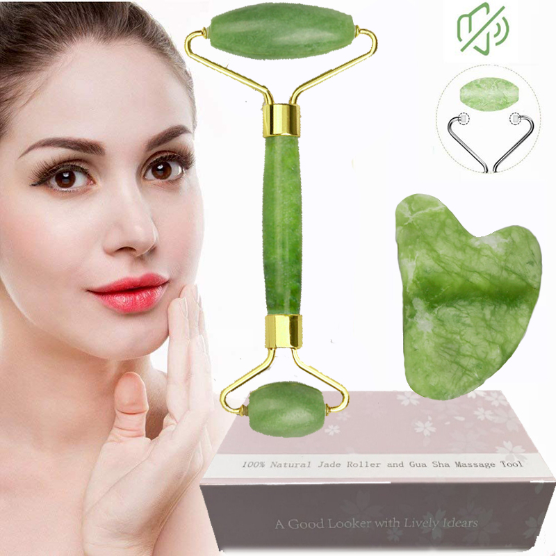 Natural Jade Face Lift Roller Portable Facial Massager Hands Body Skin Relaxation Slimming Beauty Health Skin Care Tools Set Box