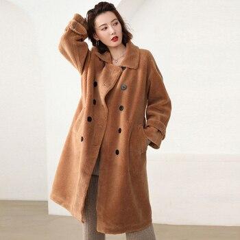 2019 bffur طويل الصوف سترة مع حزام معطف الفرو الحقيقي رفض طوق المرأة معاطف الخرفان الطبيعي الإناث الشتاء الزي 1