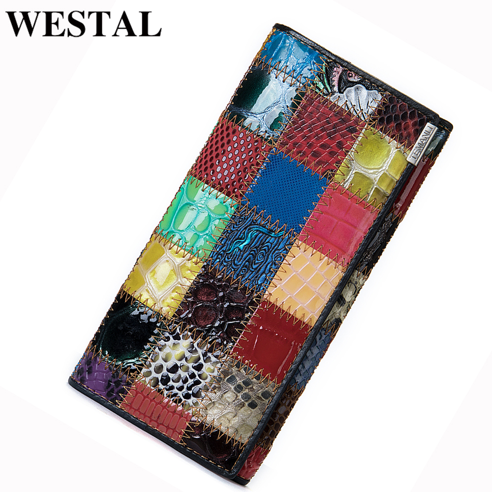 WESTAL Wallet Women Genuine Leather Purse Female Women's Leather Wallet Long Patchwork Womens Wallets And Purses For Cards 544