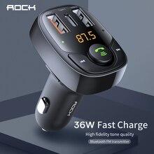 רוק B300 Bluetooth משדר FM 4.2 מטען לרכב USB מהיר סגסוגת אלומיניום דיגיטלי ניטור טעינה מהירה עבור iPhone סמסונג