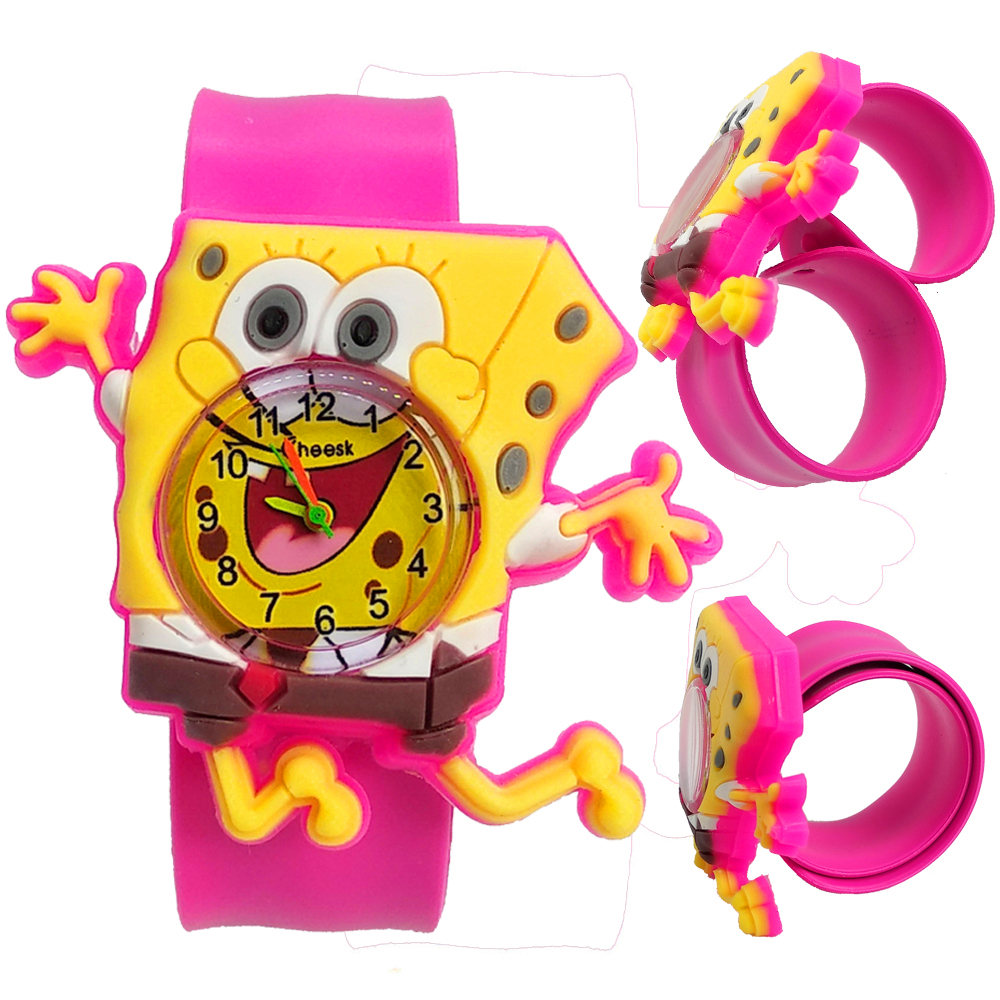 Can Bend Soft Silicone Strap 3D SpongeBob Watch Children Toys Kids Watches For Boys Girls Gift Students Clock Child Quartz Watch