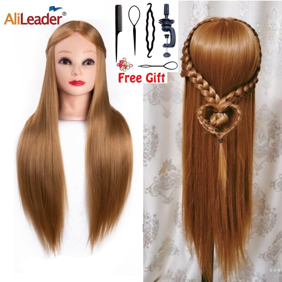 Голова манекена Alileader 26 дюймов, тренировочный синтетический манекен со светлыми черными волосами для косметологии, парикмахерской, практик...