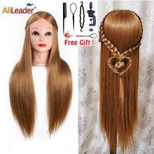 "Alileader 26 ""Synthetische Blonde Schwarz Haar Training Mannequin Kopf Kosmetik Haar Salon Friseur Praxis Puppe Puppe Kopf"