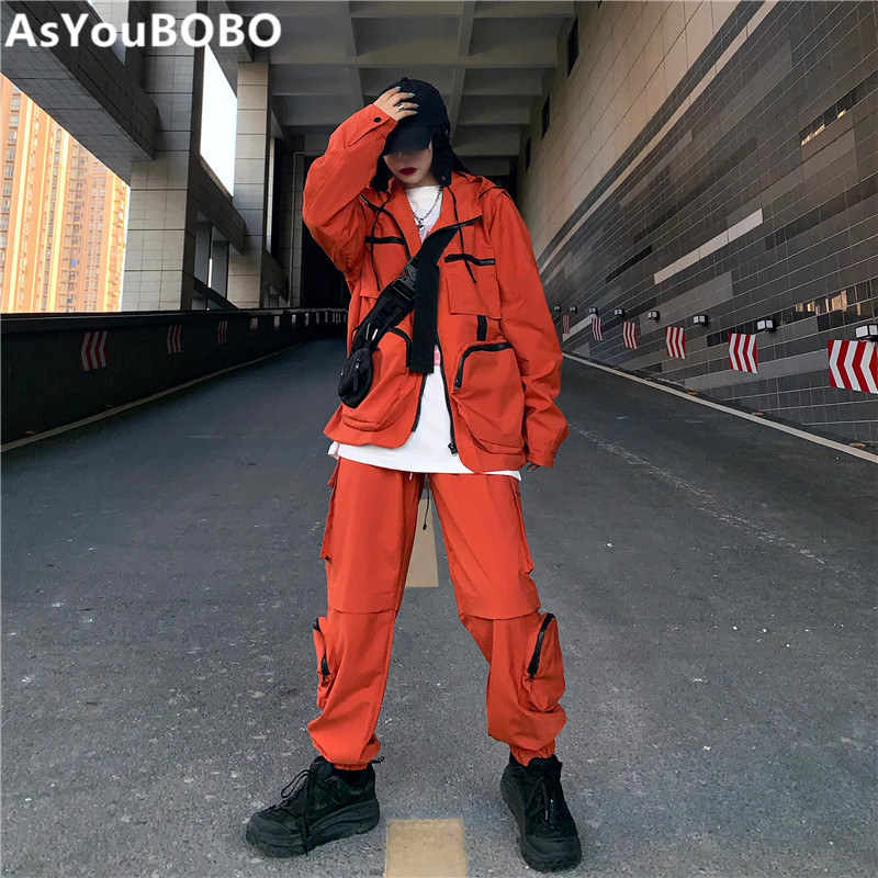 Harajuku vintage ins hot high street safari style with pockets orange hooded  jackets and pants women sets female YQ-1104
