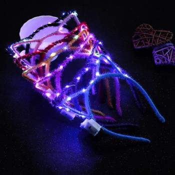 Cute Cat Ear Glowing Headband LED Flash Lights Fashion Head Band Kids Adults Hairband Hair Accessories Party Headwear Gift #2 - discount item  5% OFF Headwear