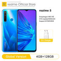 "realme 5 4GB RAM 128GB ROM 6.5"" Moblie Phone Snapdragon 665 AIE Octa Core 12MP Quad Camera Cellphone 5000mAh 10W charging power"