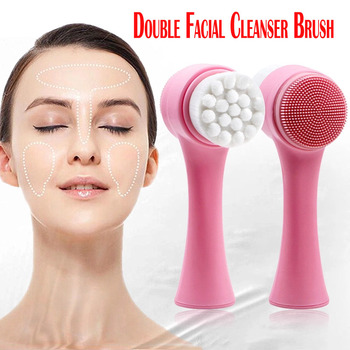 Facial Cleanser Brushes Waterproof Cleaning Exfoliator Beauty Device Skin Care Double Side Silicone Brush