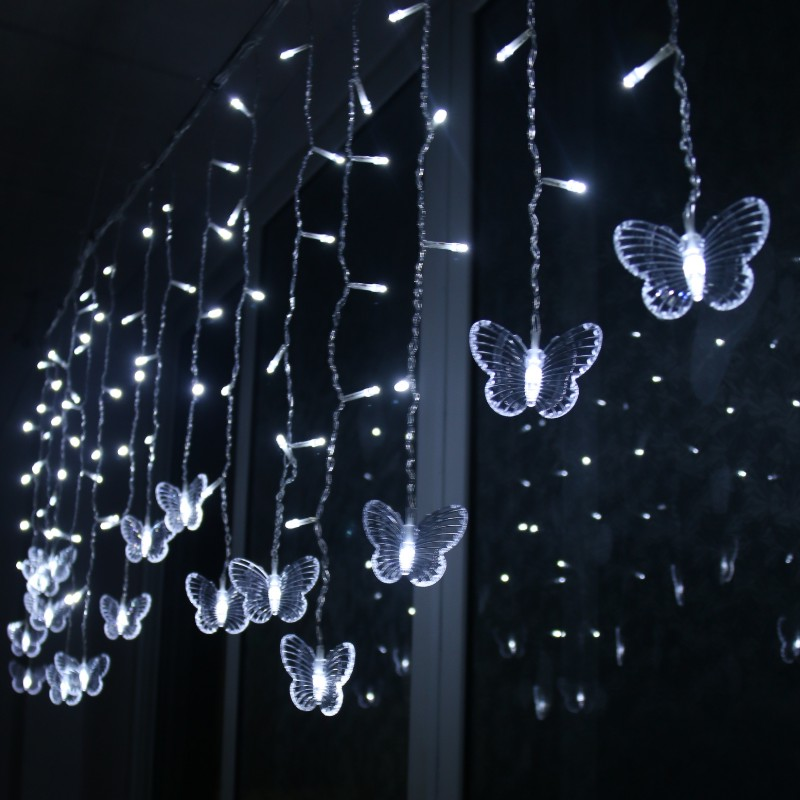 LED Butterfly Curtain Light Ices Strip Butterfly Pendant Light String Indoor Outdoor Decoration PAK55