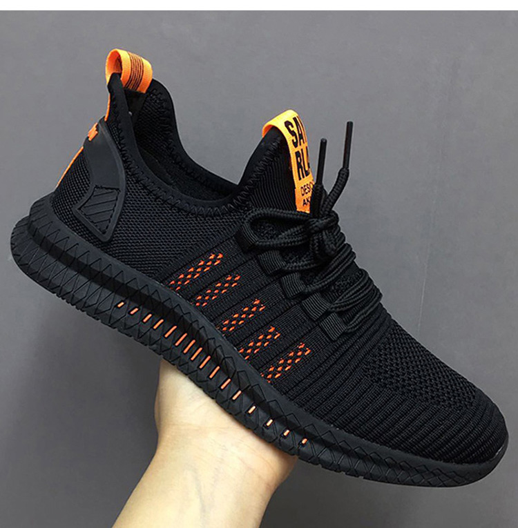 Fashion Men Shoes Sneakers Breathable Mesh Trend Casual Shoes Men Trainers Lace-up Lightweight Male Shoes Black Tenis Masculino