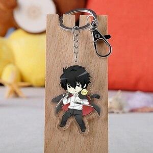 Anime Hitman Reborn Keychain Cartoon Figure Tsunayoshi Hibari Kyoya Hayato Double-side Pendant Key Rings(China)