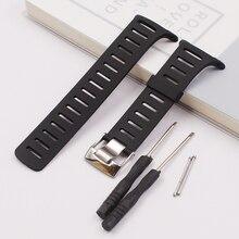 Bracelet en caoutchouc noir élégant et exquis pour sangle SUUNTO T1 T1C T3 T3C T3D T4C T4D sports de plein air bracelet étanche pour hommes