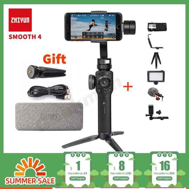 Zhiyun estabilizador de cardán sin escobillas para iPhone, Samsung S8, gopro56, PK, DJI, Osmo 2, Smooth Q, eyemind, s5