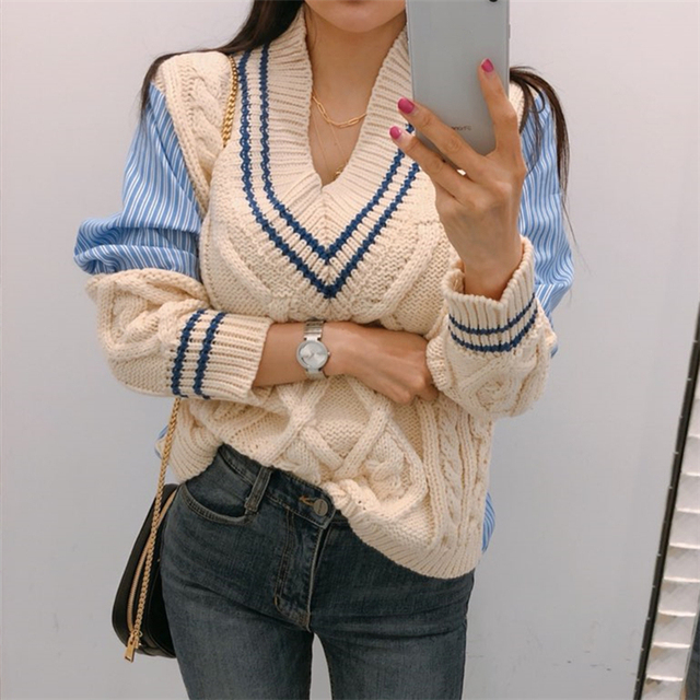Ailegogo 2020 Autumn Winter Women's Sweaters Patchwork Srtiped V-Neck pullover Stylish Knitted Korean Female Jumpers SW1703 2