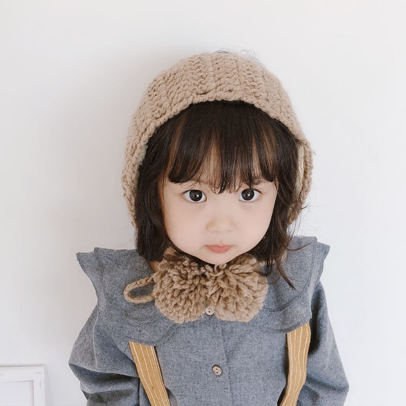 Children Girls Boys Crochet Knit Winter Hat Thicken Plush Lining Earmuff Solid Color Cute Pompom Ball Ear Warmer With Chin Stra