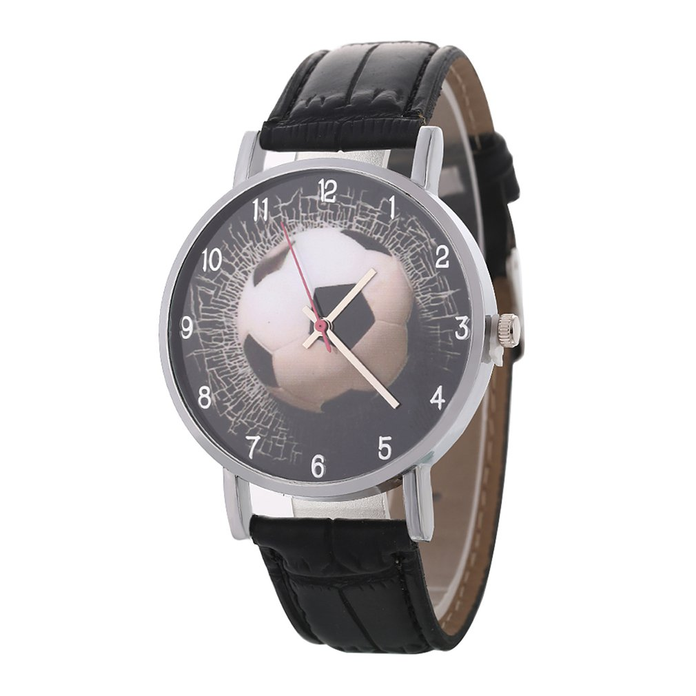 Football Soccer Pattern Quartz Watches Sport Unisex PU Leather Band Round Dial Wrist Watch Casual Teen Child Birthday Gift