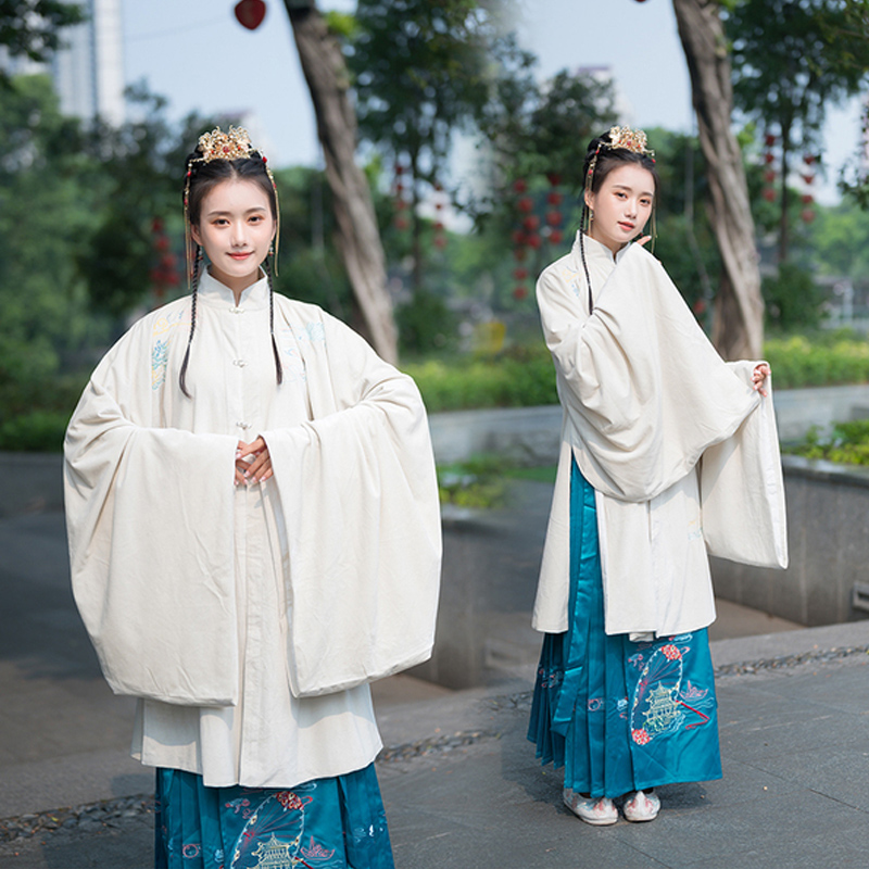Chinese Traditional Long Robe For Women Ming Dynasty Ancient Fairy Princess Clothes White Tops Green Skirt Hanfu Dress VO412