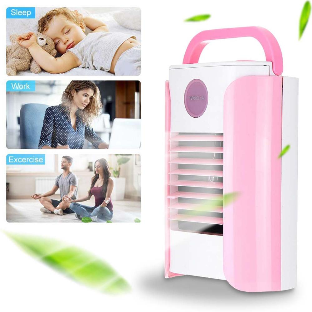 Mini Desktop Fan Portable Air Conditioner Humidifier Purifier Air Cooler Fan USB Charging Adjustable Support Bluetooth/Radio/AUX