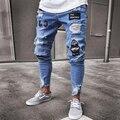 3 вида стилей Для мужчин эластичная рваные узкие байкерские с узором, вышивкой и джинсы рваные отверстие тесьмой Slim Fit джинсовые поцарапан в...