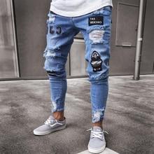 3 estilos homens elástico rasgado motociclista magro bordado imprimir jeans destruído buraco gravado fino ajuste denim riscado alta qualidade 4xl