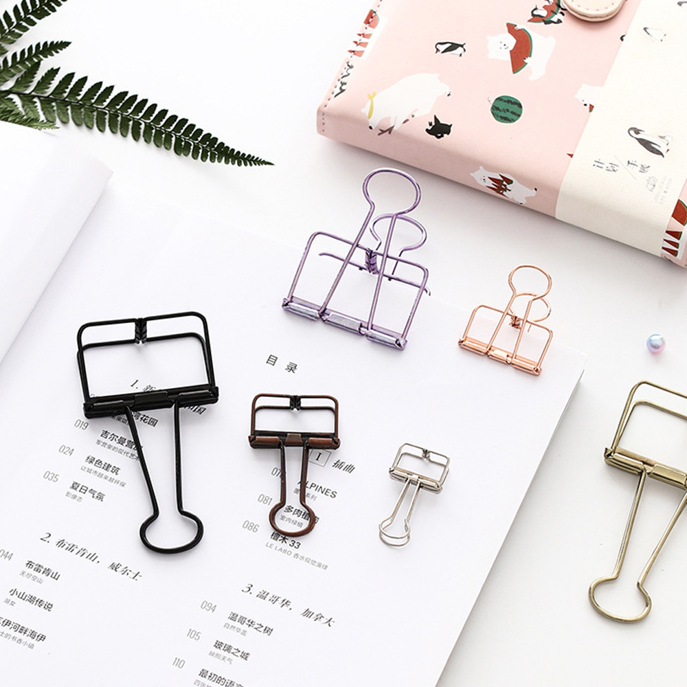 1pc Metal Clip Cute Binder Clips Album Paper Clips Stationary Office High Quality Office Tool Accessories