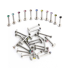 10Pcs Stainless Labret Lip Ring Ear Helix Tragus Cartilage Studs Piercing Mixed Color Body Jewelry