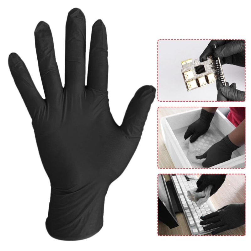 Fastship 100Pcs Nitrile Gloves Black And Blue Disposable Gloves For Household Cleaning / Food / Rubber / Universal Garden Gloves