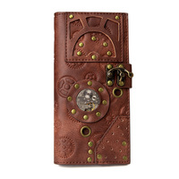 OMIKRON Women Steampunk Retro Leather Wallet Female Leisure Purse Long Coin Purse Card Wallets Carteira Feminina Birthday Gifts