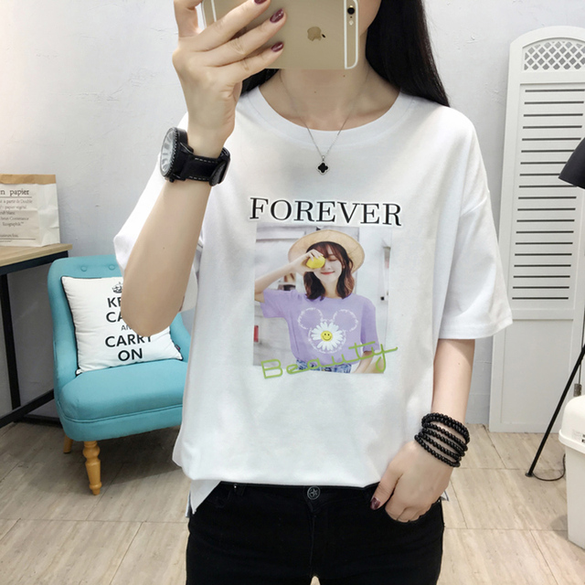 Фото футболка женская с буквенным принтом модный хлопковый топ рубашка