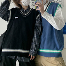 Suéter Chaleco de los hombres de cuello en V Bolero Patchwork de parejas Ins de talla grande 3XL tamaño Harajuku chalecos Ins Chic estilo coreano ocio