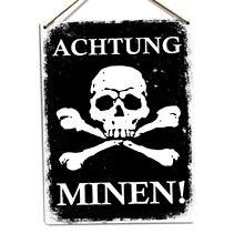 Achtung Minen-Metall Wand Zeichen Plaque Kunst-Deutsch Mine Dange Warnung War (Besuchen Unserem Speicher, mehr Produkte!!!)