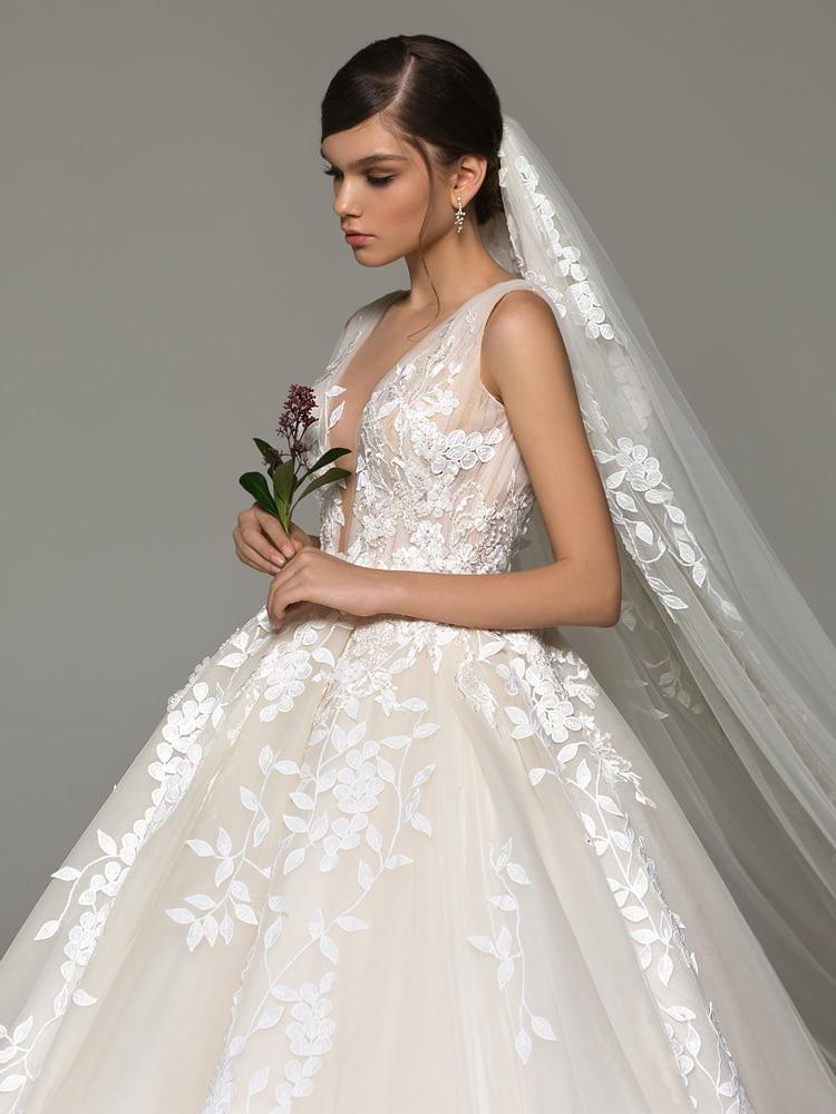 Wedding-Dress Appliques Fairy Acra Princess Bridal-Gown A-Line Backless Fashion Sleeveless
