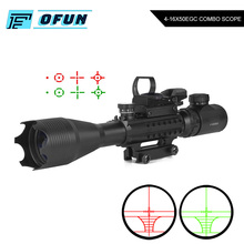4-16X50 EG Tactical Optic Sight Rifle Scope With Holographic 4 Reticle Hunting Scope Red Dot Sight Laser Combo Riflescope tactical 4x32 rifle scope fiber optic illuminated scope for 20mm rail hunting shooting military red green dot reticle sight