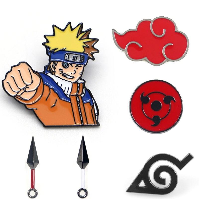 Naruto Akatsuki Red Cloud Kunai Shuriken Enamel Pins Brooch Cosplay Props Alloy Uchiha Itachi Sharingan Badge