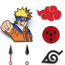 Naruto Akatsuki Red Cloud Kunai Shuriken เคลือบ Pins เข็มกลัด COSPLAY Props Alloy Uchiha Itachi Sharingan Badge(China)