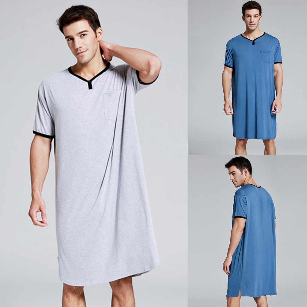 2020 ผู้ชายชุดนอน Nightshirt แขนสั้นชุดนอน Night นุ่มสบายหลวม Sleep เสื้อชายเสื้อผ้า #3