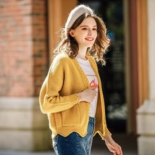Yellow Knitted Cardigans Ladies Solid Harajuku Ruched Loose Women Sweater Top Brand High Quality Long Sleeve Female Sweater New(China)