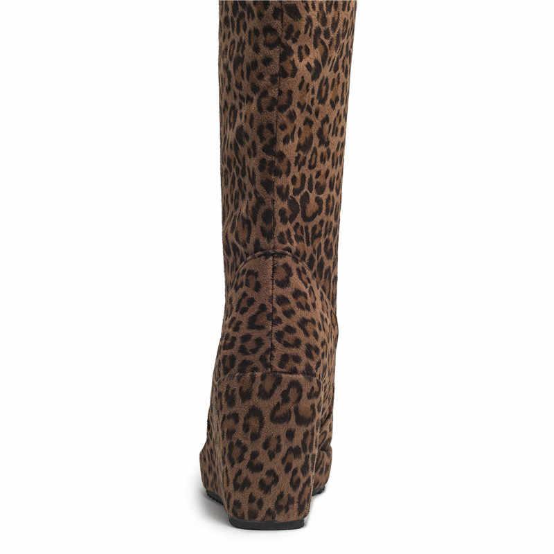 Asumer2020 yeni diz çizmeler üzerinde kadın yuvarlak ayak kayma sonbahar kış çizmeler platformu takozlar yüksek topuklar balo botları büyük boy