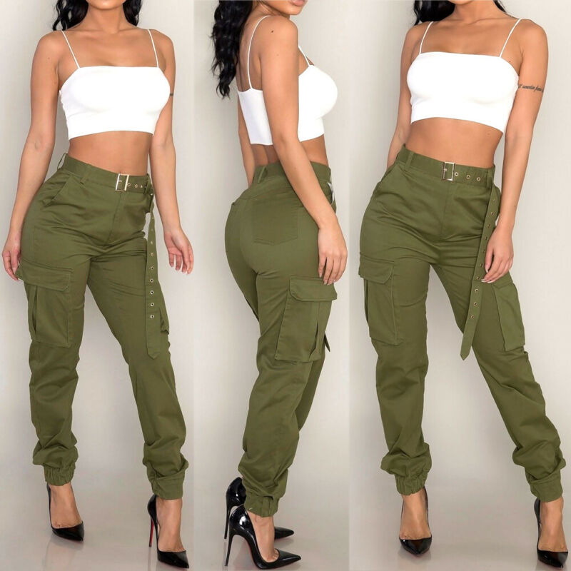Ladies High Waist Military Camouflage Casual Loose Long Pant
